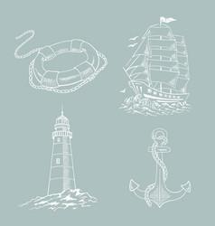 lighthouse ship sailboat sketch set vector image