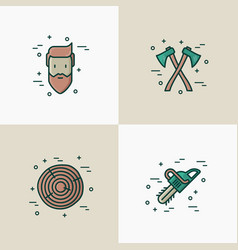 Logging and lumberjack with beard concept vector