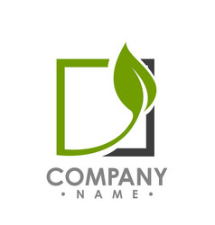 Logo concept leafs and square abstract sign vector