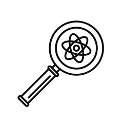 Magnify glass atom icon outline style vector