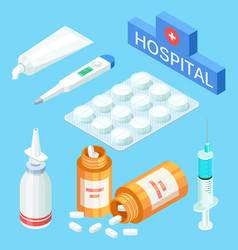 medical tools and drugs vitamins vector image
