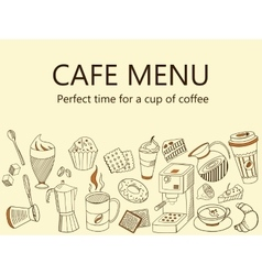 Menu Cafe Coffee drinks banner vector image