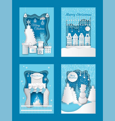 Merry christmas cutout paper cut winter images vector