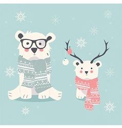 Merry Christmas postcard with two polar bears vector image