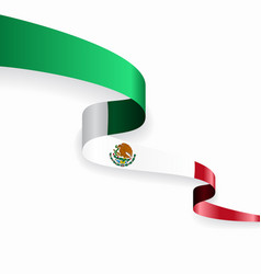 Mexican flag wavy abstract background vector