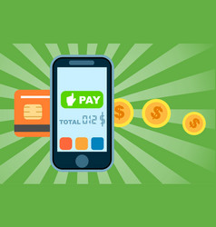 Mobile money transfer concept in flat design vector