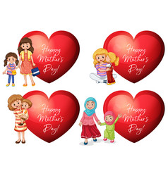 mothers day sticker design with mothers and kids vector image