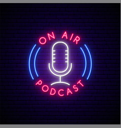 Neon podcast sign bright glowing mic emblem vector