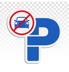 No parking mark signs - with capital p flat icon vector