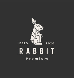 Origami rabbit hare bunny hipster vintage logo vector