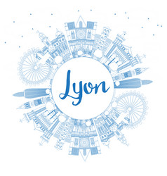 outline lyon france city skyline with blue vector image