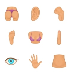 Part of body icons set cartoon style vector