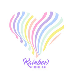 Pastel rainbow heart background inspirational vector