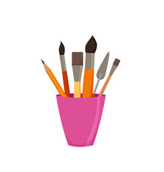 Pencils brushes in jar colorful vector