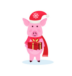 pig holding gift box wearing hat happy new year vector image