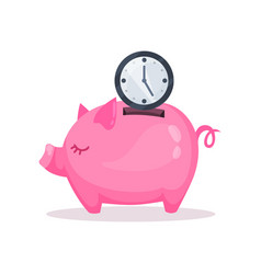 Pink piggy bank and clock saving and investing vector