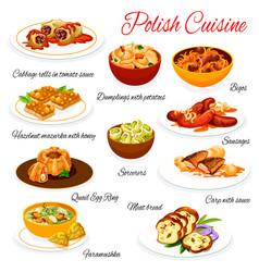 Polish cuisine food dishes menu poland meals vector