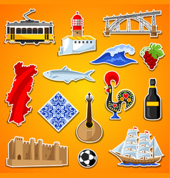 Portugal stickers set portuguese national vector