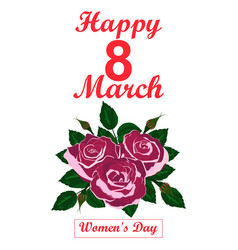 postcard greetings from the women s day march 8 vector image
