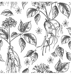 Realistic botanical ink sketch seamless pattern vector