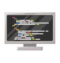 realistic silhouette of lcd monitor with screen vector image