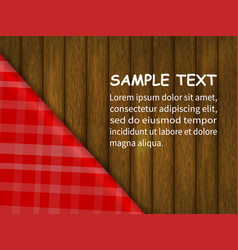 red checkered tablecloth on a wooden table vector image