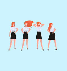 redhead women standing different poses casual vector image
