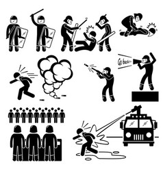 riot police stick figure pictogram icons a set of vector image