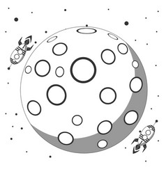 rocket flies around the moon flat design icon vector image