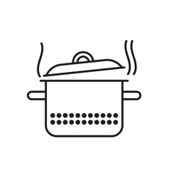 Saucepan with steam vector