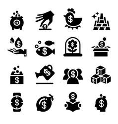 saving money investment icon set vector image