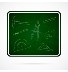 School Elements on Green Chalkboard vector