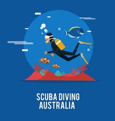 Scuba diving extream activity in australia design vector