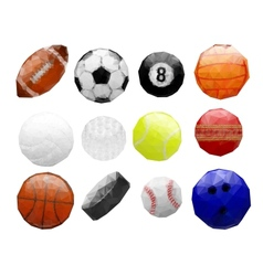 set abstract polygonal sports balls vector image