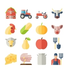 set farming harvesting and agriculture flat vector image