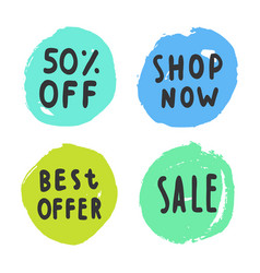 Set of sale buttons vector