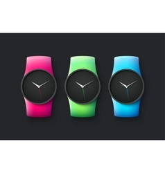 Set of sport and fashion smart wrist watches vector