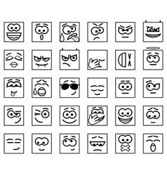 Set square emoticons vector