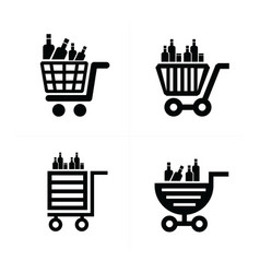 Shopping cart icons and drink vector