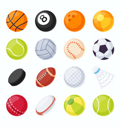 sport balls soccer tennis volleyball baseball vector image