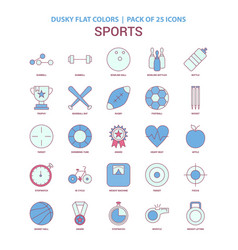 Sports icon dusky flat color - vintage 25 icon vector