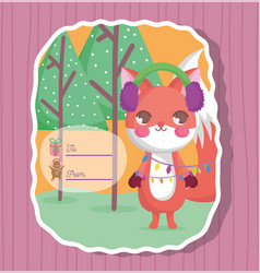 squirrel happy merry christmas tag vector image