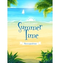 summer time - beach and sea boat vector image