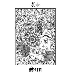sun symbol tarot card from lenormand gothic vector image