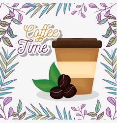 Takeaway cup and seed fresh beverage coffee time vector