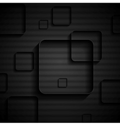 Tech geometric black background with squares vector