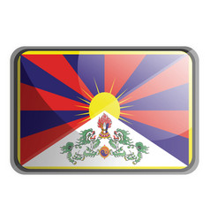 tibet flag on white background vector image