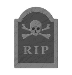 Tombstone with skull and crossed bones vector