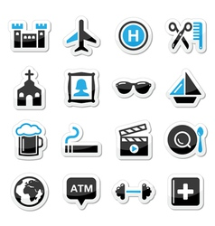 Travel tourism and transport icons set - vector image