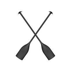 two crossed paddles in black design vector image